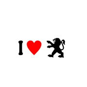 Sticker I Love Peugeot Sigla
