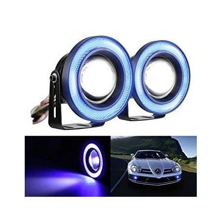 Proiectoare LED cu Angel Eyes 89mm Albastre